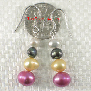 Sterling Silver Mix Size; Mix Color Cultured Pearl Handcrafted Hook Earrings