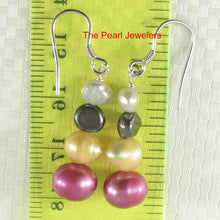 Load image into Gallery viewer, Sterling Silver Mix Size; Mix Color Cultured Pearl Handcrafted Hook Earrings