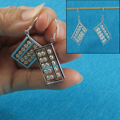 Sterling Silver .925 Hand Crafted Hook Abacus Design White Pearl Hook Earrings