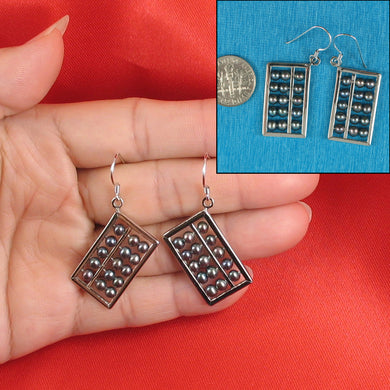 Solid Silver .925 Hand Crafted Hook Abacus Design Black Pearl Hook Earrings