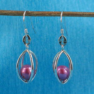 Solid Silver 925 Lucky Lantern Rose-pink Cultured Pearl Hook Earrings