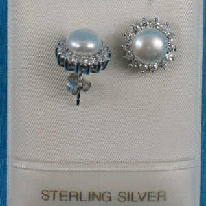 Solid Sterling Silver 925; White Cultured Pearl Tradition Stud Earrings