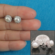 Load image into Gallery viewer, Solid Sterling Silver 925; White Cultured Pearl Tradition Stud Earrings