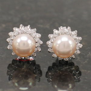 Rhodium Finish Solid Silver .925 Pink Cultured Pearl Tradition Stud Earrings
