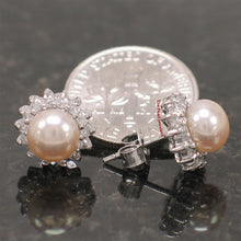 Load image into Gallery viewer, Rhodium Finish Solid Silver .925 Pink Cultured Pearl Tradition Stud Earrings