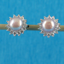 Load image into Gallery viewer, Solid Sterling Silver 925; Lavender Cultured Pearl Tradition Stud Earrings