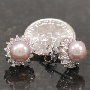 Solid Sterling Silver 925; Lavender Cultured Pearl Tradition Stud Earrings