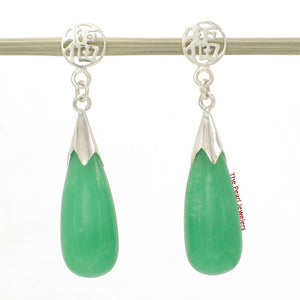 Solid Silver 925 Oriental Design Raindrop Green Jade Dangle Stud Earrings