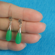 Load image into Gallery viewer, Solid Silver 925 Oriental Design Raindrop Green Jade Dangle Stud Earrings