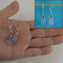 Load image into Gallery viewer, Solid Sterling Silver 925 Raindrop Lavender Jade Dangle Lever Back Earrings