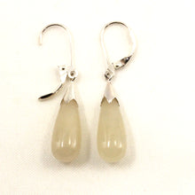Load image into Gallery viewer, 9110017-Solid-Sterling-Silver-925-Raindrop-Honey-Jade-Dangle-Leverback-Earrings