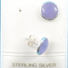 Load image into Gallery viewer, Solid Sterling Silver 925 w/ 11mm Dome Tablet Lavender Jade Stud Earrings