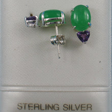 Load image into Gallery viewer, Solid Sterling Silver .925 Amethysts with 6 x 8 mm Green Jade Stud Earrings