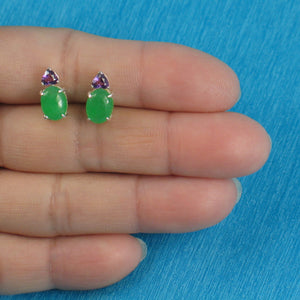 Solid Sterling Silver .925 Amethysts with 6 x 8 mm Green Jade Stud Earrings