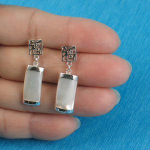 Solid Sterling Silver .925 GOOD FORTUNES Curved Mother of Pearl Dangle Stud Earrings