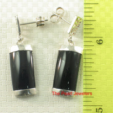 Load image into Gallery viewer, Solid Sterling Silver .925 GOOD FORTUNES Curved Black Onyx Dangle Stud Earrings