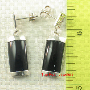 Solid Sterling Silver .925 GOOD FORTUNES Curved Black Onyx Dangle Stud Earrings