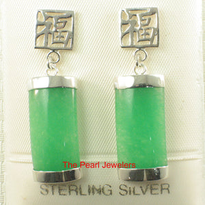 Solid Silver .925 GOOD FORTUNES Curved Shape Green Jade Dangle Stud Earrings