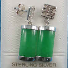 Load image into Gallery viewer, Solid Silver .925 GOOD FORTUNES Curved Shape Green Jade Dangle Stud Earrings
