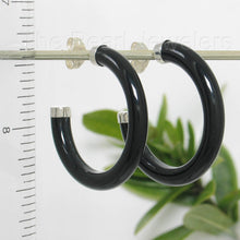 Load image into Gallery viewer, Solid Sterling Silver 925 Natural Black Onyx 30 mm C Shaped Hoop Earrings