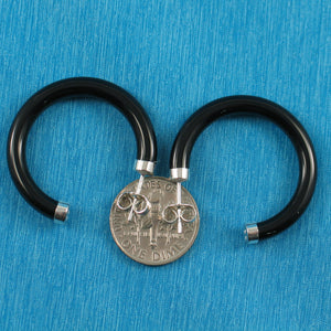 Solid Sterling Silver 925 Natural Black Onyx 30 mm C Shaped Hoop Earrings