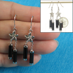 Solid Silver 925 Hawaiian Jewelry Plumeria; Tubes Black Onyx Hook Earrings