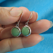 Load image into Gallery viewer, Simple & Beautiful Green Jade Leverback Earrings in Sterling Silver 925 C.Z