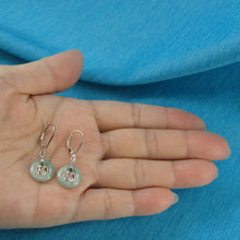 Load image into Gallery viewer, Solid Silver 925 Good Fortunes Celadon Green Jade Leverback Dangle Earrings