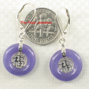 Solid Sterling Silver 925 Good Fortunes Lavender Jade Leverback Dangle Earrings