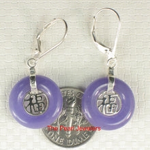 Load image into Gallery viewer, Solid Sterling Silver 925 Good Fortunes Lavender Jade Leverback Dangle Earrings