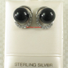 Load image into Gallery viewer, Solid Sterling Silver 925 Set 10mm Black Onyx & Cubic Zirconia Stud Earrings
