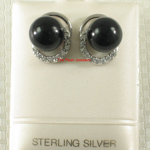Solid Sterling Silver 925 Set 10mm Black Onyx & Cubic Zirconia Stud Earrings