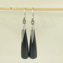 Load image into Gallery viewer, Solid Sterling Silver .925 Hook Tube Drop Blue Sandstone Dangling Earrings