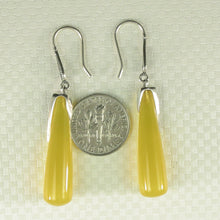 Load image into Gallery viewer, Solid Sterling Silver .925 Hook Tube Drop Yellow Agate Dangling Earrings