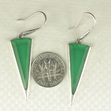 Load image into Gallery viewer, Green Agate Triangle Solid Sterling Silver .925 Hook Drop Dangle Earrings