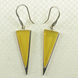 Yellow Agate Triangle Solid Sterling Silver .925 Hook Drop Dangle Earrings