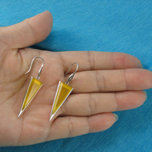 Load image into Gallery viewer, Yellow Agate Triangle Solid Sterling Silver .925 Hook Drop Dangle Earrings