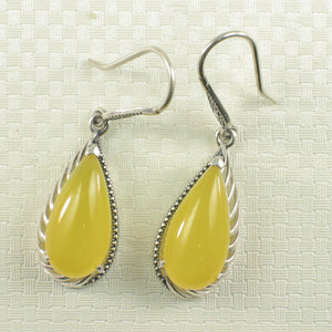 Solid Sterling Silver Hook Pear Yellow Agate Dangle Drop Earrings