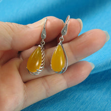 Load image into Gallery viewer, Solid Sterling Silver Hook Pear Yellow Agate Dangle Drop Earrings