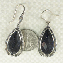 Load image into Gallery viewer, Pear Shaped Blue Sandstone Solid Sterling Silver Hook Dangle Drop Earrings