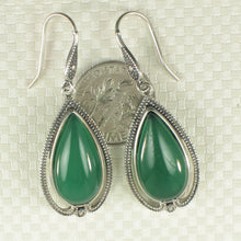 Load image into Gallery viewer, Pear Cabochon Cut Green Agate Solid Sterling Silver Hook Drop Dangle Earrings