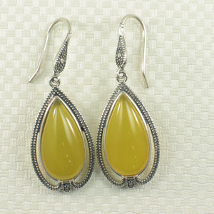 Cabochon Cut Pear Yellow Agate Solid Sterling Silver Hook Dangle Earrings