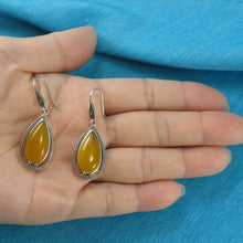 Load image into Gallery viewer, Cabochon Cut Pear Yellow Agate Solid Sterling Silver Hook Dangle Earrings