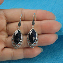 Load image into Gallery viewer, Marquise Cut Blue Sandstone Solid Sterling Silver Hook Drop Dangle Earrings