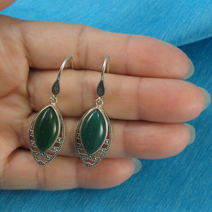 Green Marquise Cut Agate Solid Sterling Silver Hook Drop Dangle Earrings
