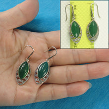 Load image into Gallery viewer, Green Marquise Cut Agate Solid Sterling Silver Hook Drop Dangle Earrings