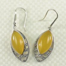 Load image into Gallery viewer, Marquise Cut Yellow Agate Solid Sterling Silver Hook Drop Dangle Earrings