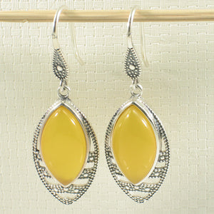 Marquise Cut Yellow Agate Solid Sterling Silver Hook Drop Dangle Earrings