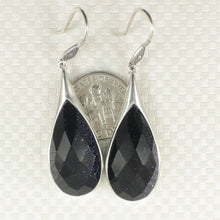 Load image into Gallery viewer, Raindrop Shaped Blue Sandstone Solid Sterling Silver Hook Drop Dangle Earrings