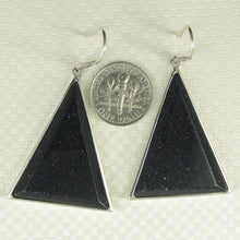 Load image into Gallery viewer, Solid Sterling Silver Hook Triangle Blue Sandstone Drop Dangle Earrings